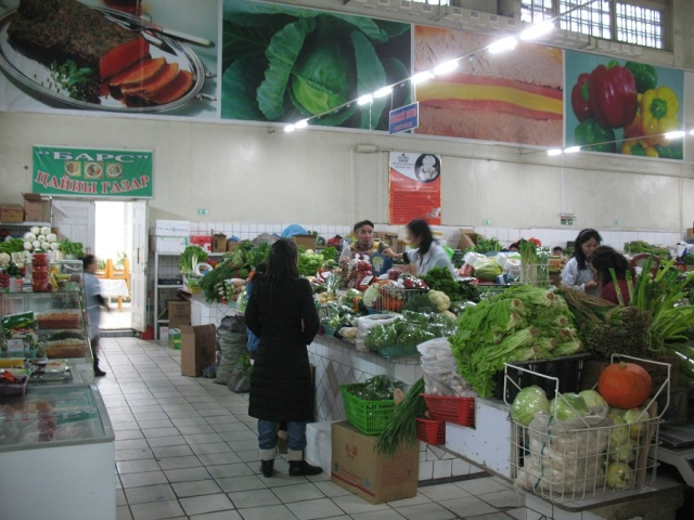 Through to the fresh veg and meat section... much bigger green vegetable selection since my last visit