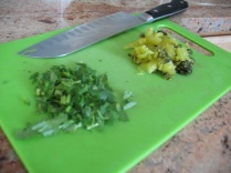roughly chopped cilantro and mustard