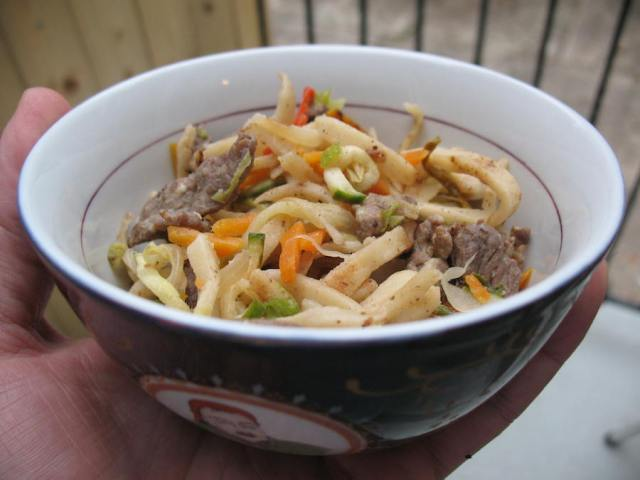 Prep your Genghis Khan bowl with cold leftover noodles